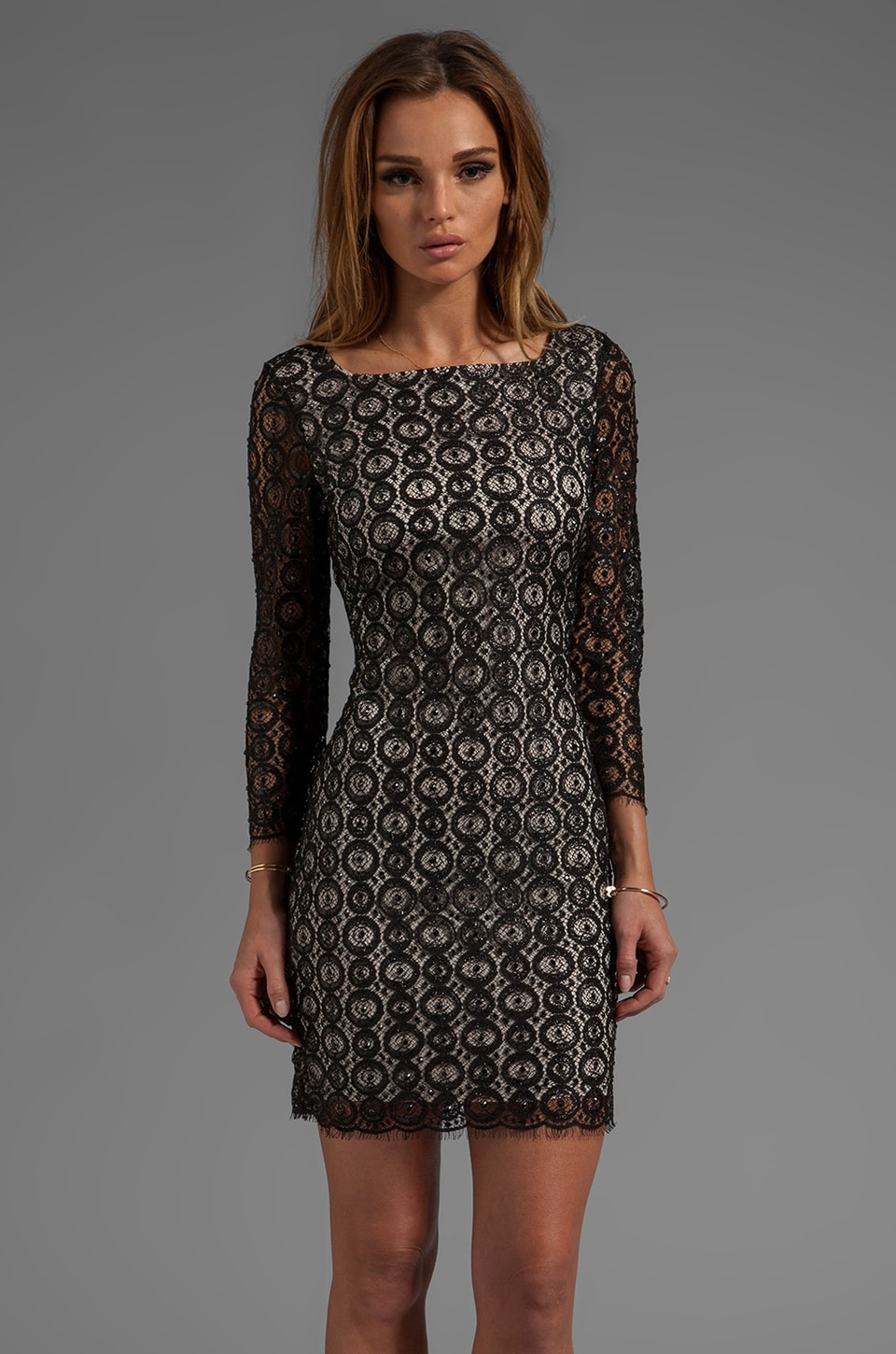Diane von Furstenberg Zarah Beaded Lace Dress in Black/Nude