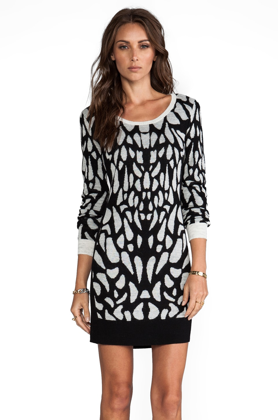Diane von Furstenberg Fiorella Sweater Dress in Black/White