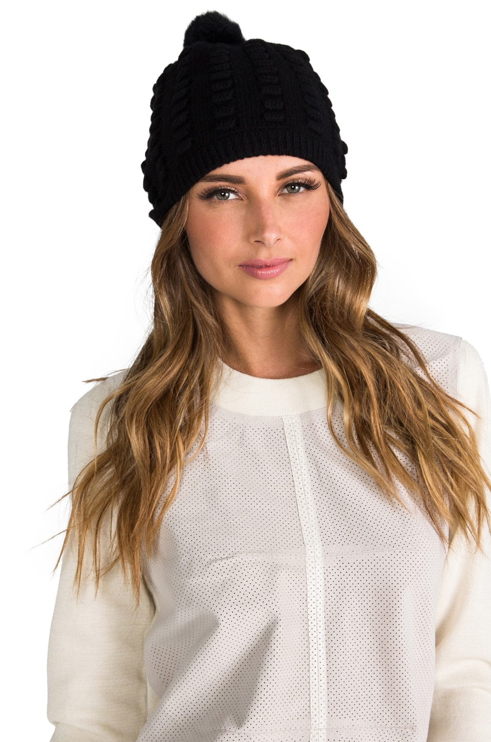 Diane von Furstenberg Dena Knit Hat with Rabbit Fur in Black