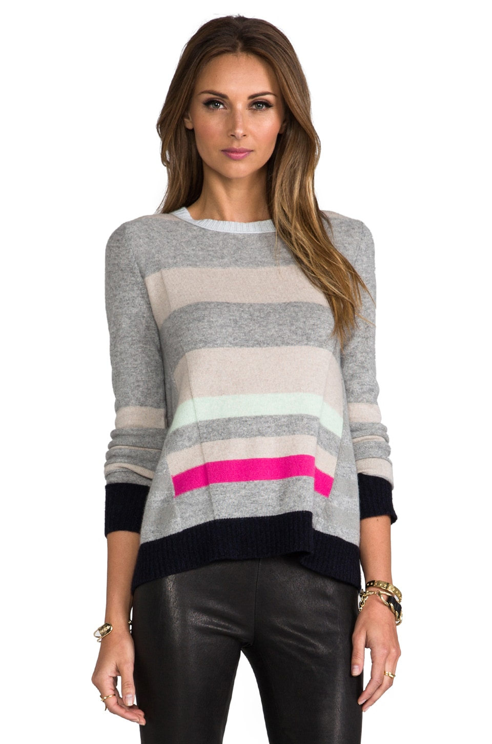 Diane von Furstenberg Beth Stripe Sweater in Sea Mist/Heather Grey