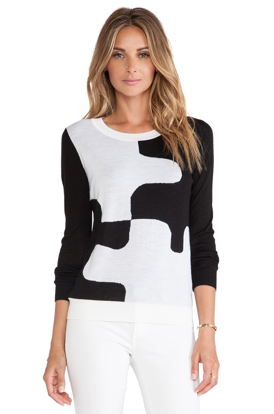 Diane von Furstenberg Daphne Pullover in Black & Optic White