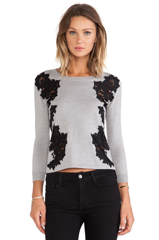 Diane von Furstenberg Doreen Floral Applique Pullover in Fog & Black