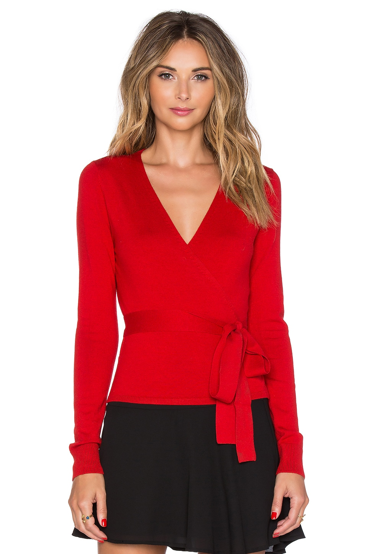 Diane von Furstenberg Ballerina Wrap Sweater in Poppy