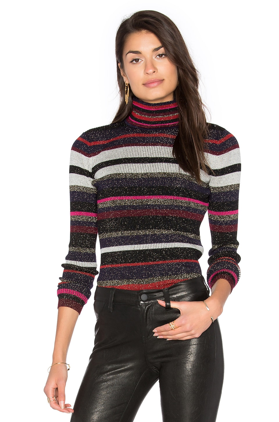 Diane von Furstenberg Leela Metallic Turtleneck Sweater in Royal Navy Stripe