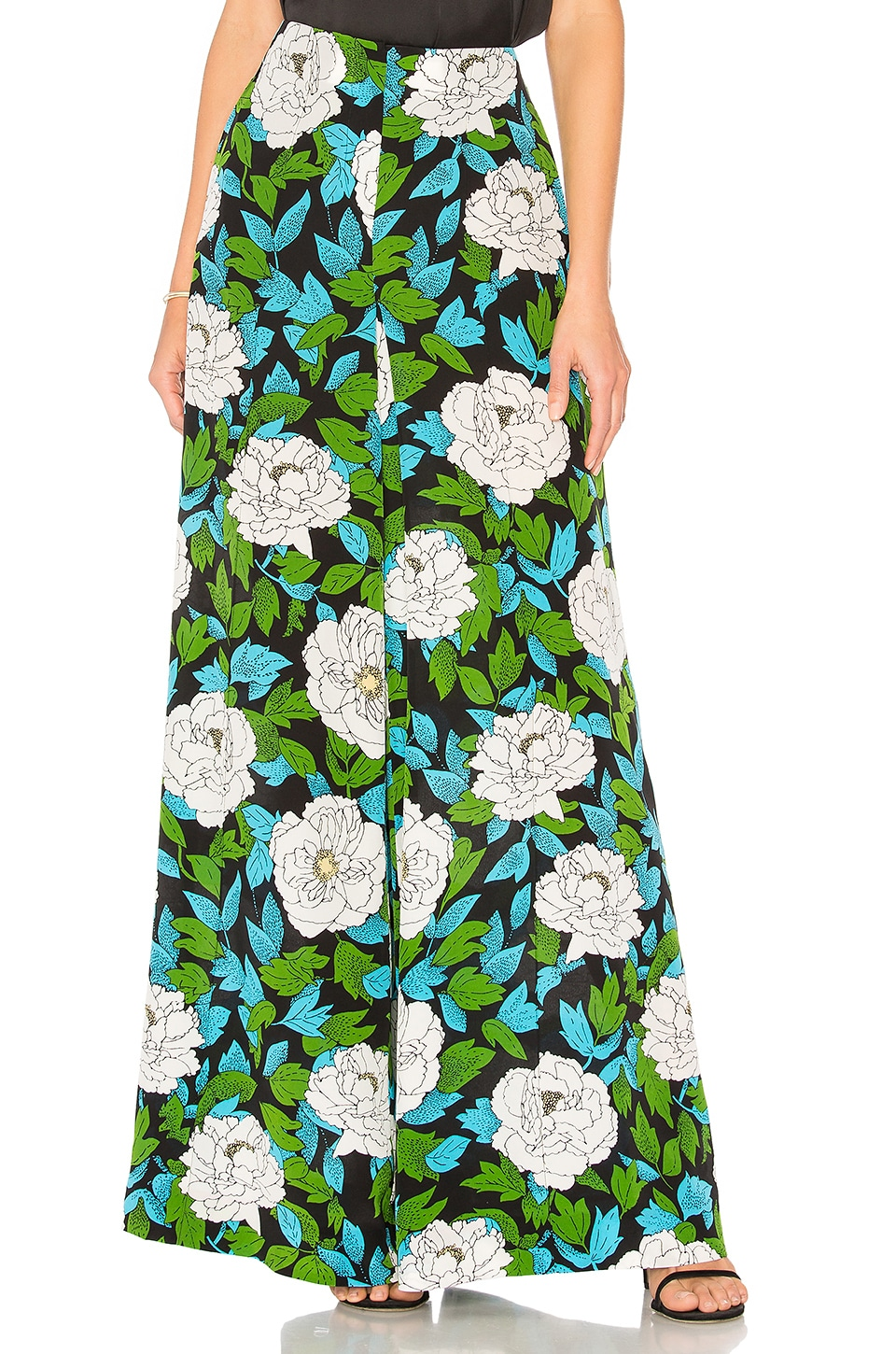Floral Silk Palazzo Pants in Green