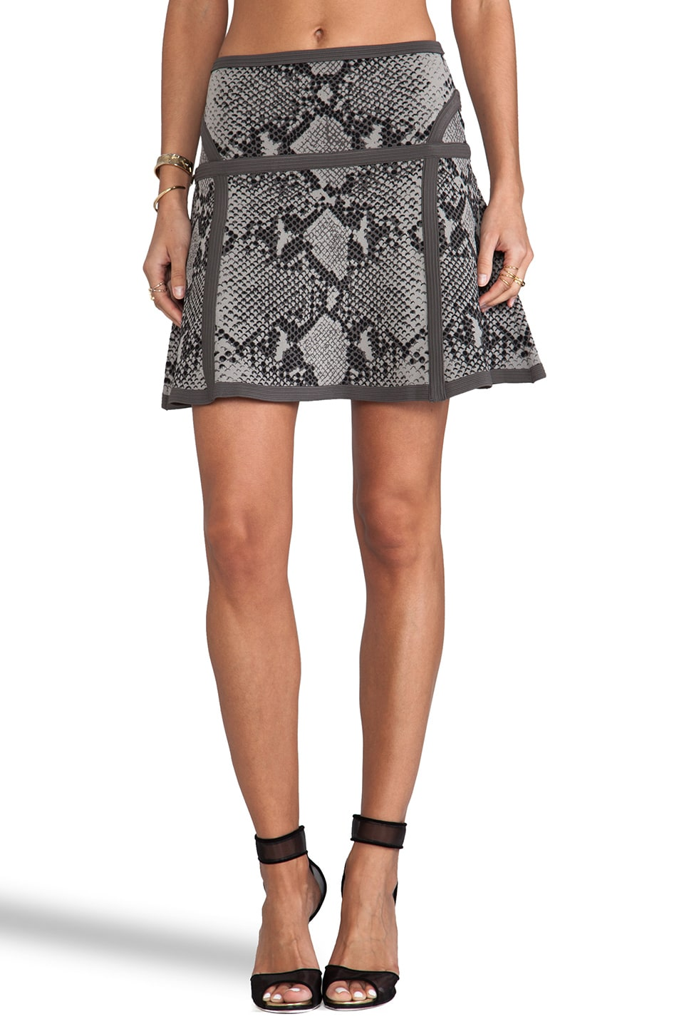 Diane von Furstenberg Flote Skirt in Light Grey Combo