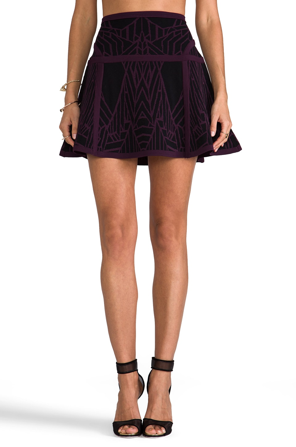Diane von Furstenberg Flote Super Stretch Skirt in Black/Dark Plum