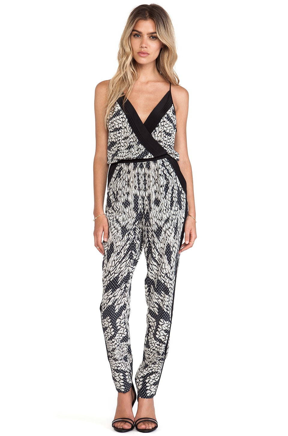 Diane von Furstenberg Shany Jumpsuit in Panther Lace Black