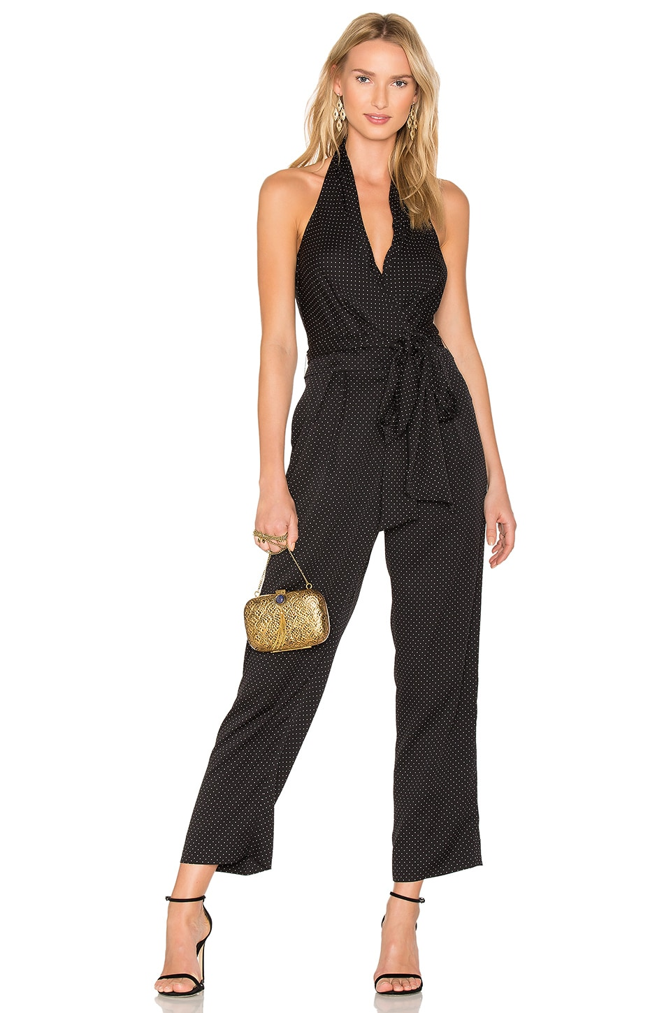 Diane von Furstenberg Wrap Jumpsuit in Navier Dot Black