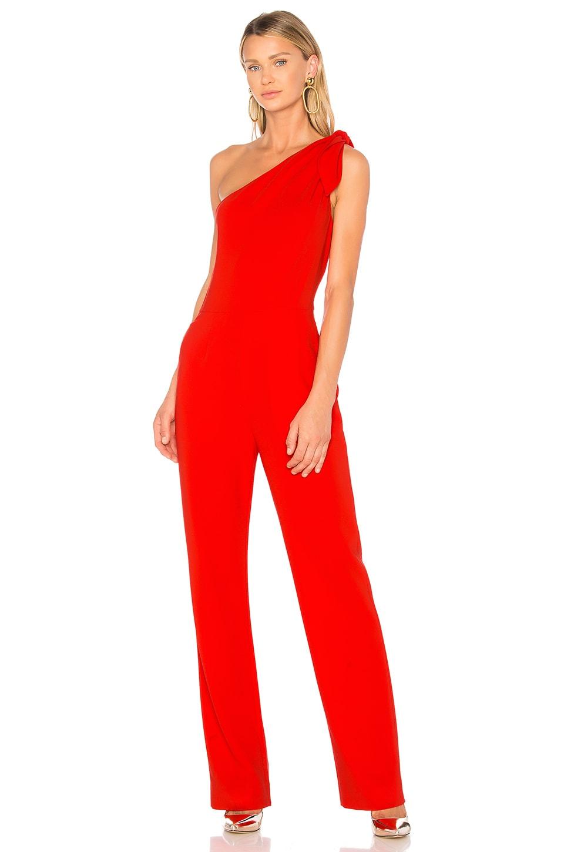 09f4269dfbc Diane von Furstenberg One Shoulder Knot Jumpsuit in Bright Red