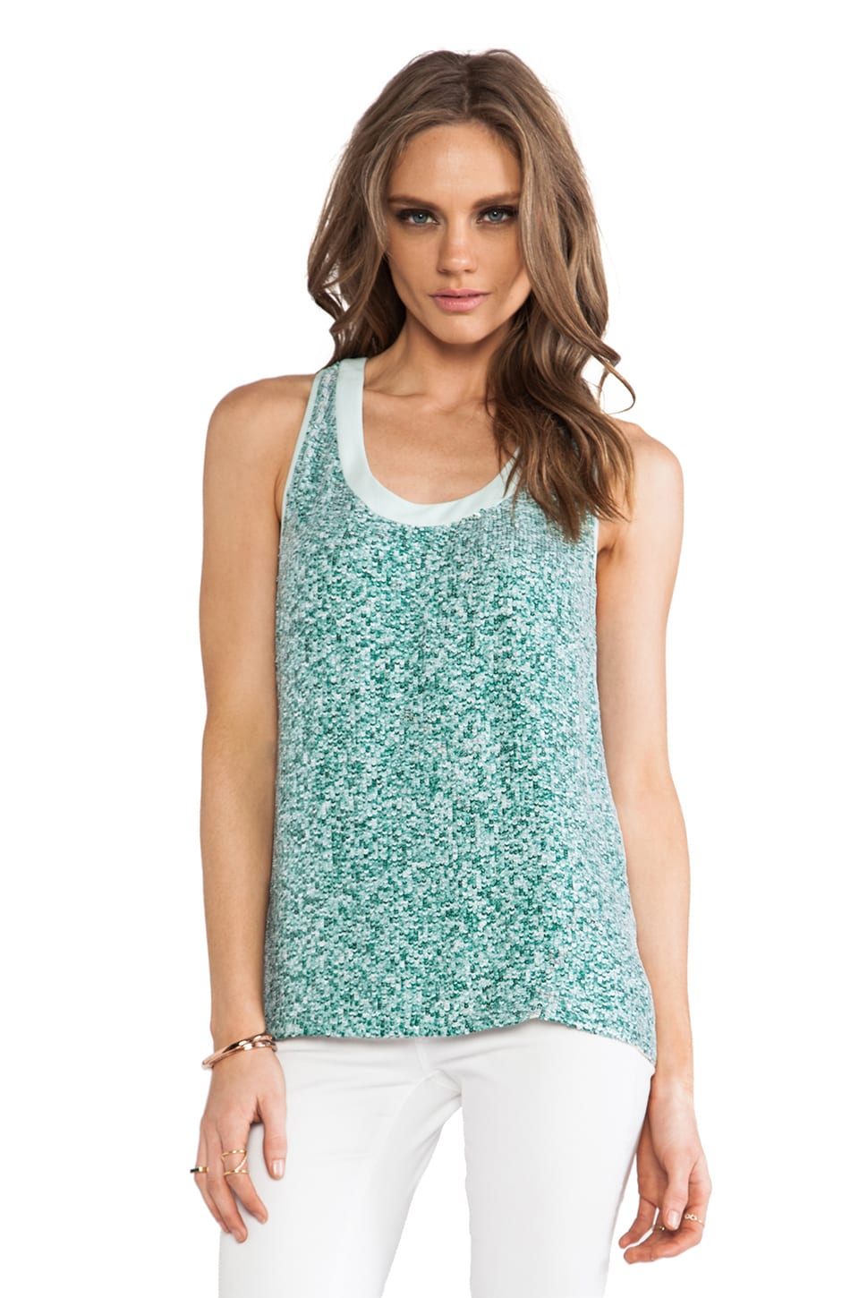 Diane von Furstenberg Emilia Marble Sequins Top in Green