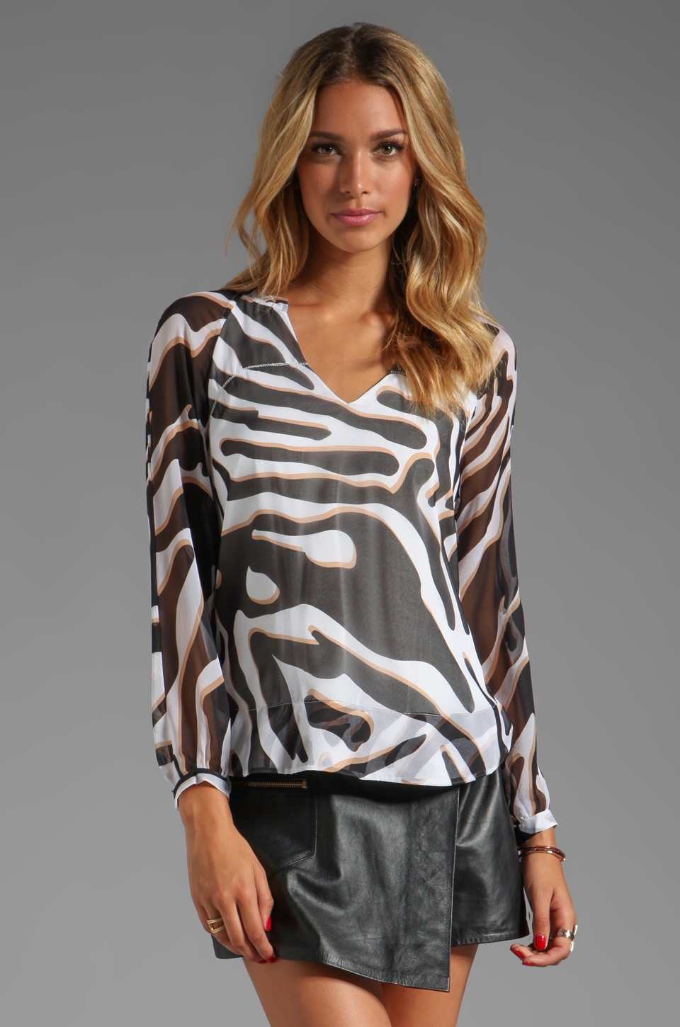 Diane von Furstenberg Maiko Chiffon Top in Zebra Shadow Black