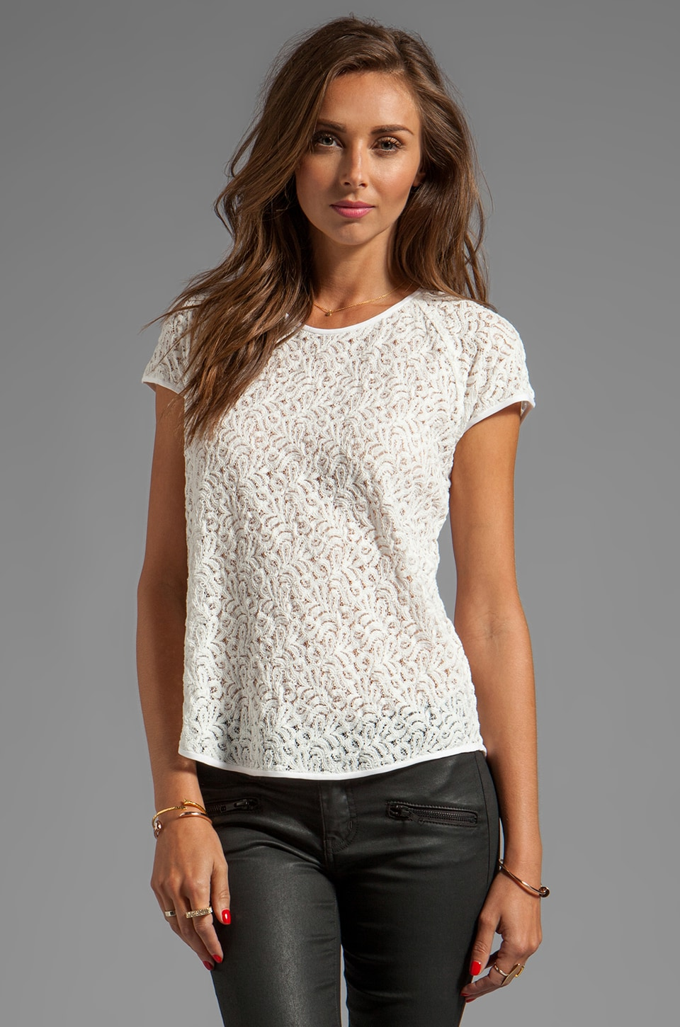 Diane von Furstenberg Liva Mini Leaf Lace Top in Lunar Moon