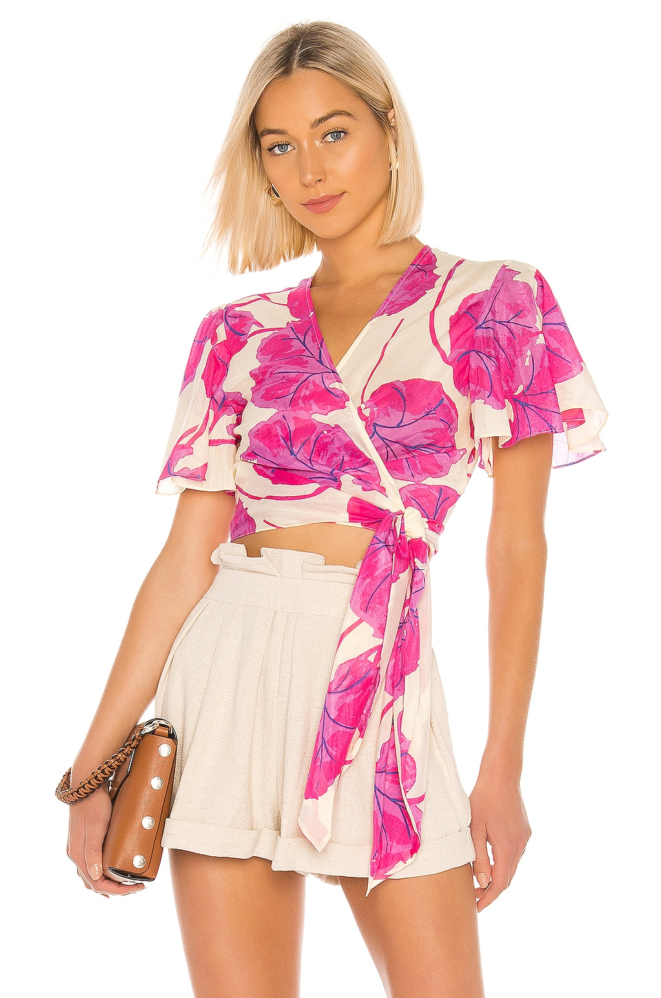 Diane von Furstenberg Hailey Top in Kimono Leaf & Almond
