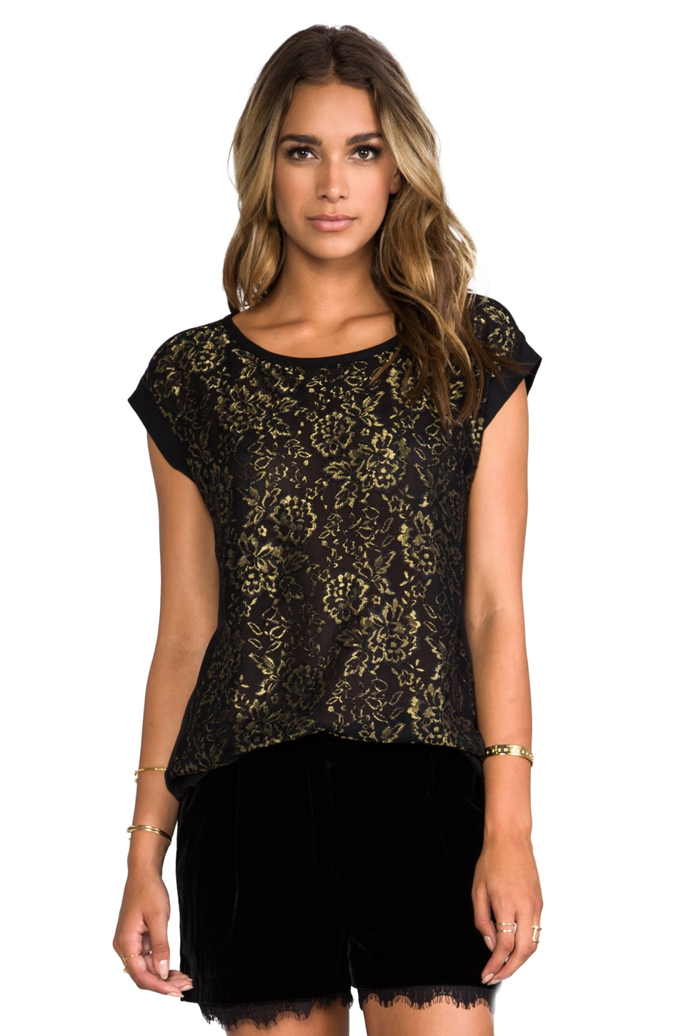 Diane von Furstenberg Cordella Top in Black/Gold