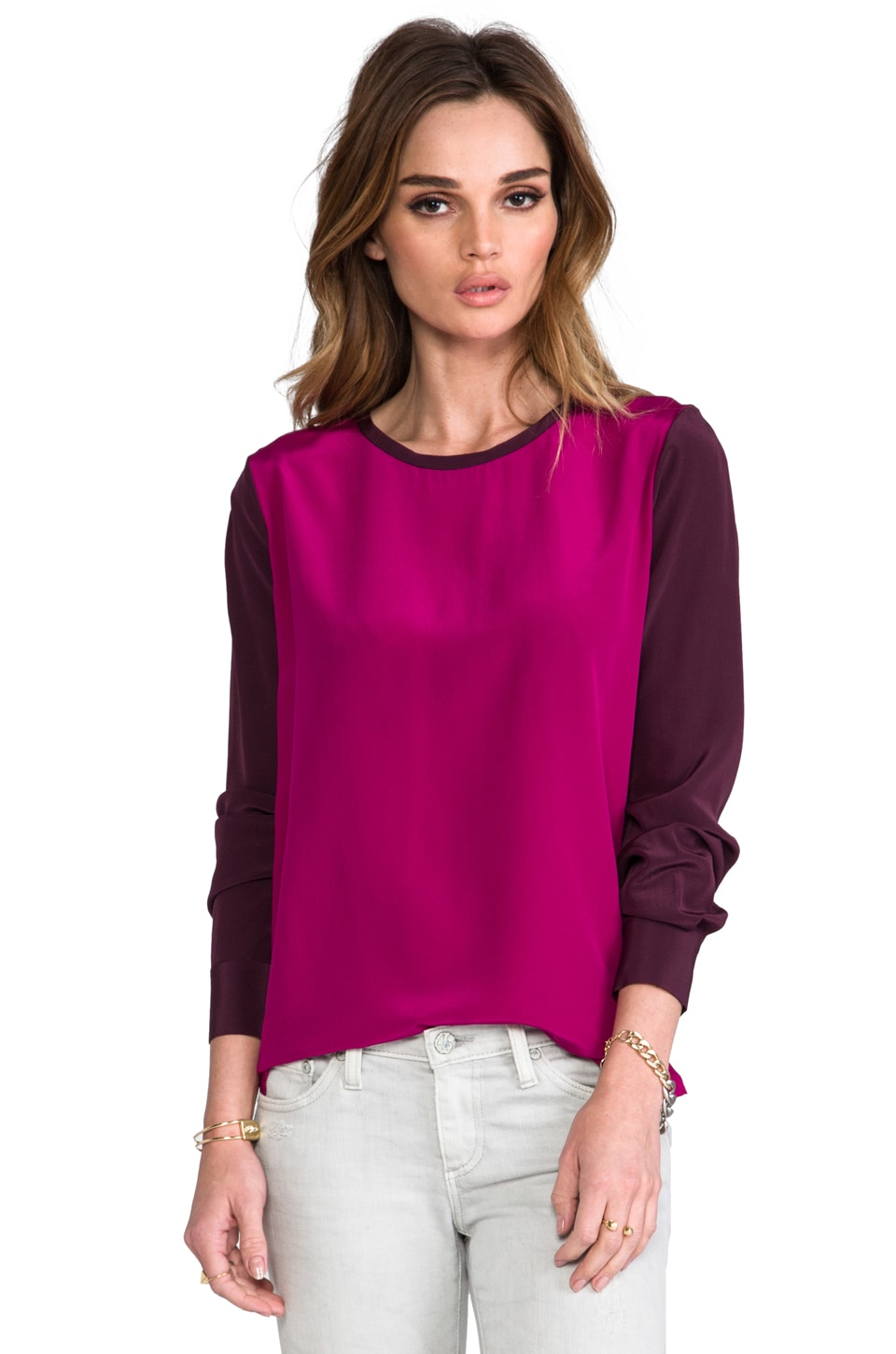 Diane von Furstenberg Louisa Top in Brazen Plum/Rouge