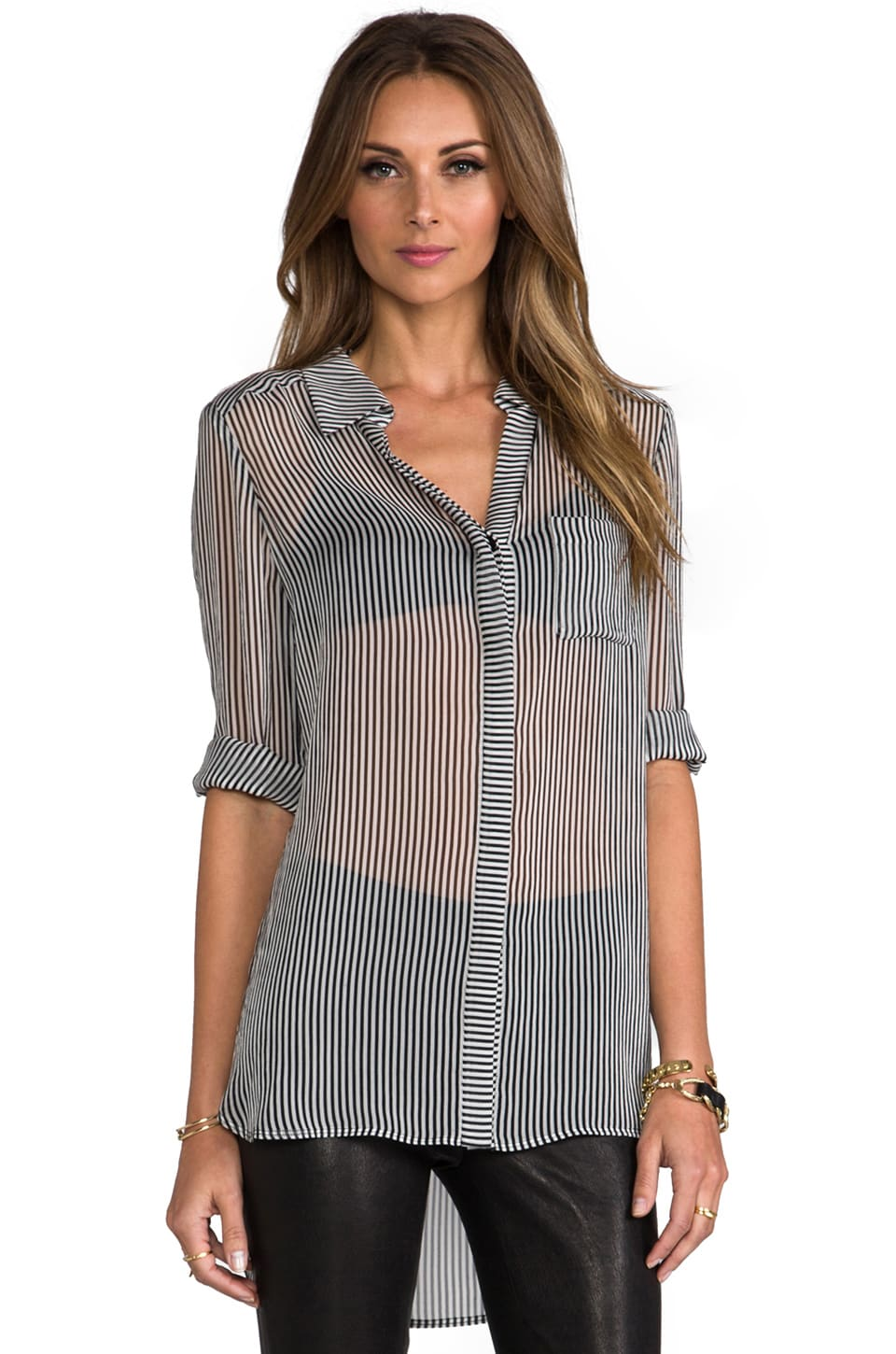 Diane von Furstenberg RUNWAY Lorelei Print Top in Simple Stripe White