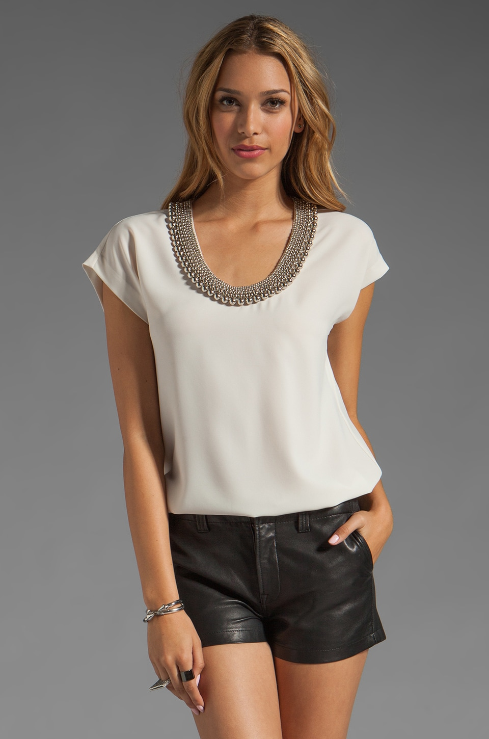Diane von Furstenberg Acedia Silver Ball Top in Gingersnap