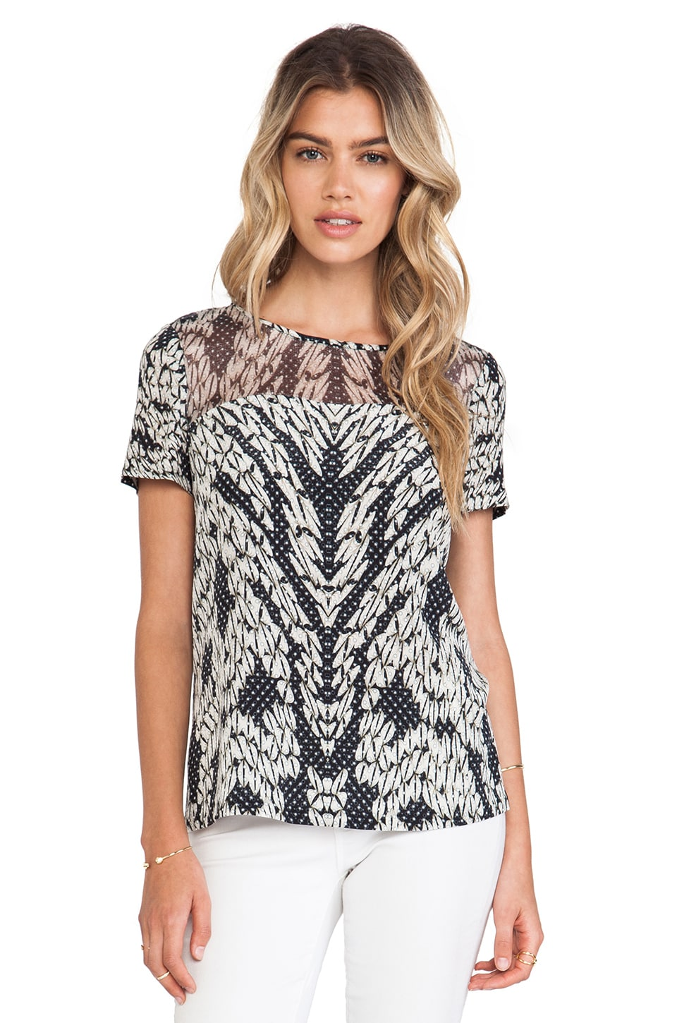 Diane von Furstenberg Angela Tee in Panther Lace Black
