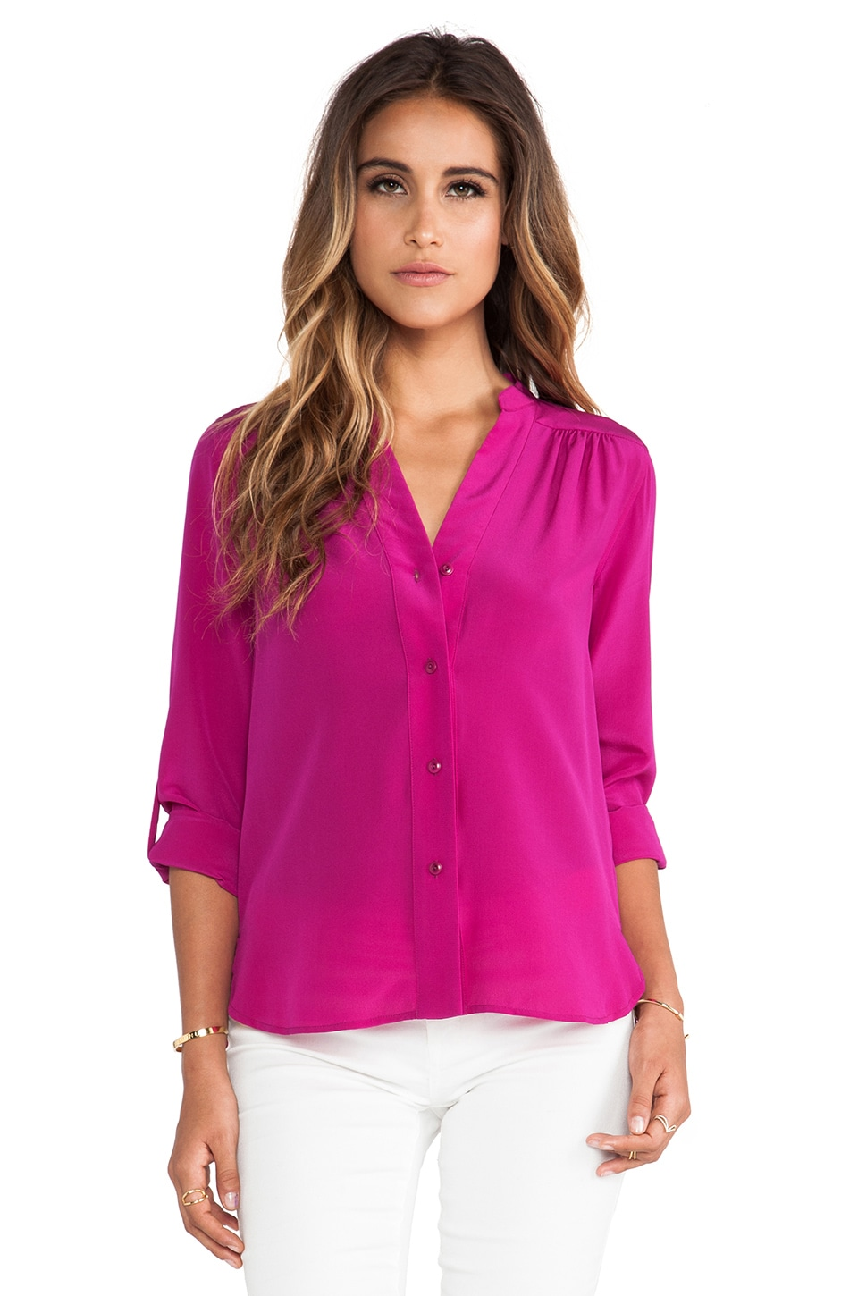 Diane von Furstenberg Harlow Blouse in Lotus Berry