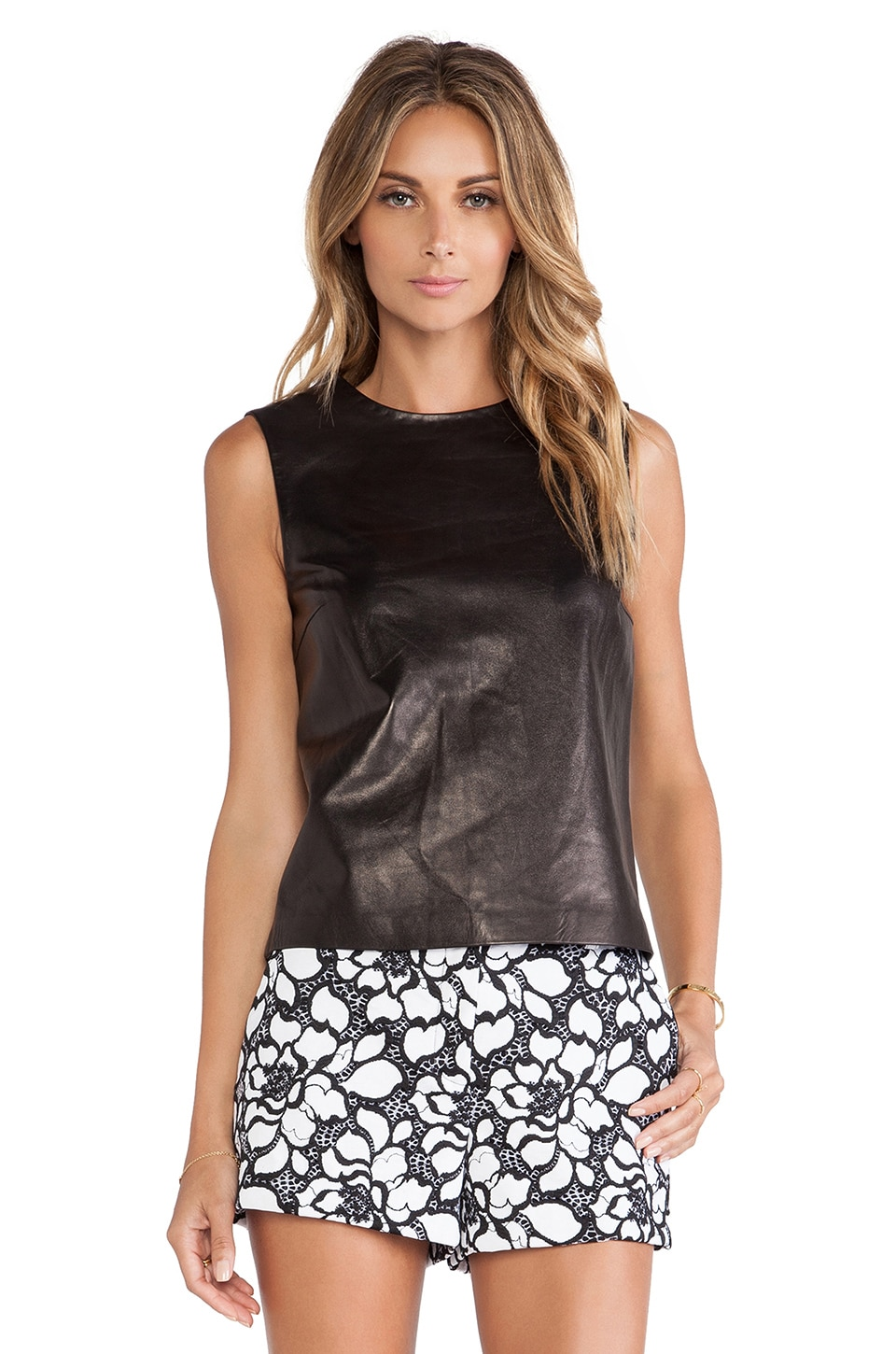 Diane von Furstenberg Betty Leather Tank in Black