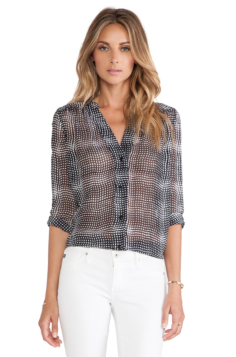 Diane von Furstenberg Harlow Blouse in Optic Plaid Black