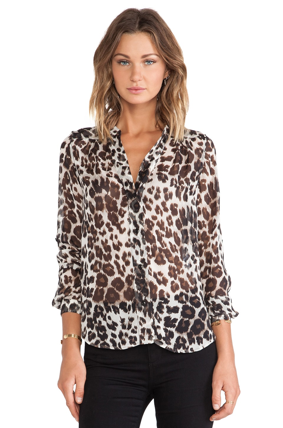 Diane von Furstenberg Harlow Blouse in Snow Cheetah Large