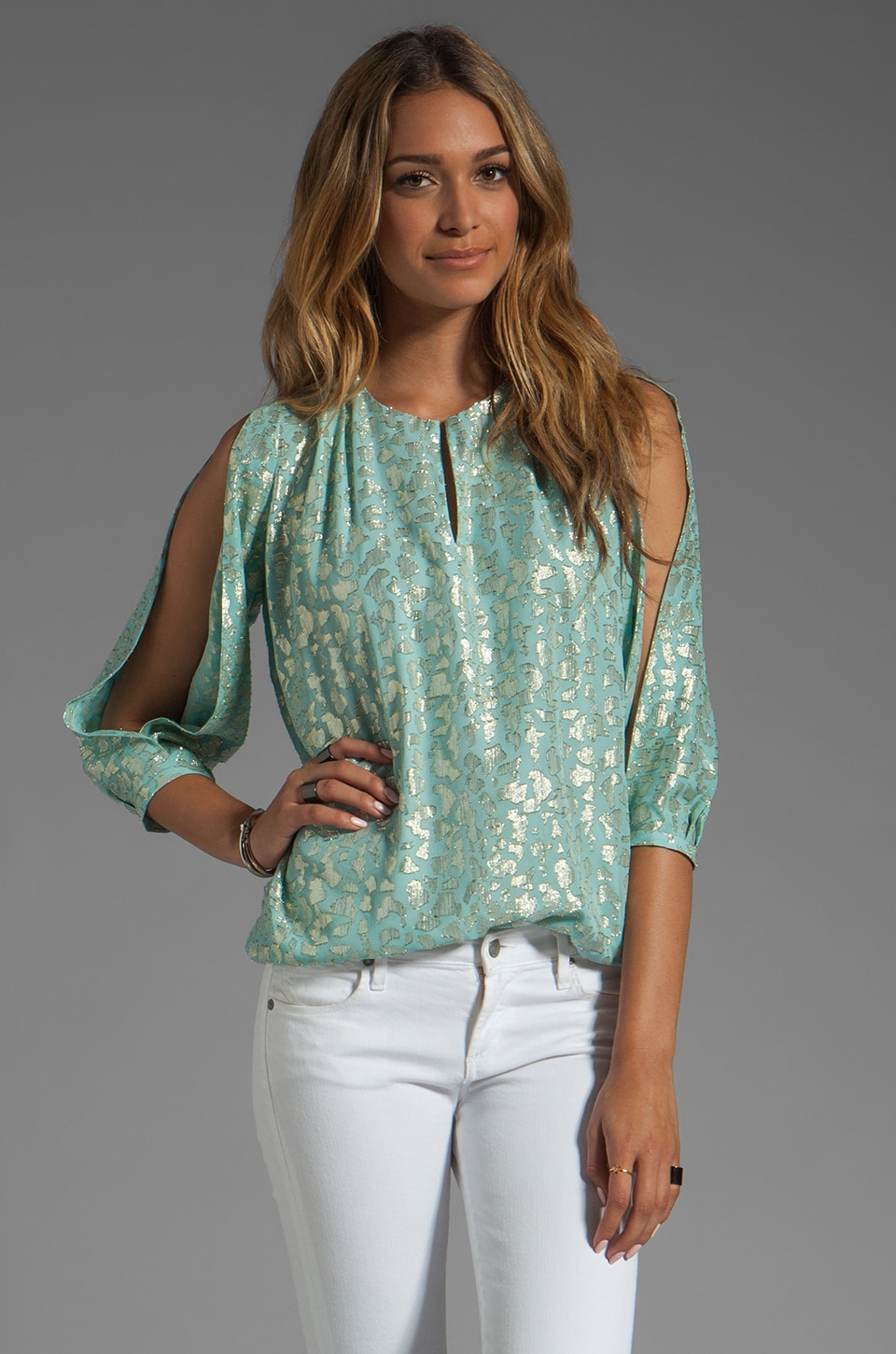 Diane von Furstenberg Astor Top in Pelican Blue/Gold