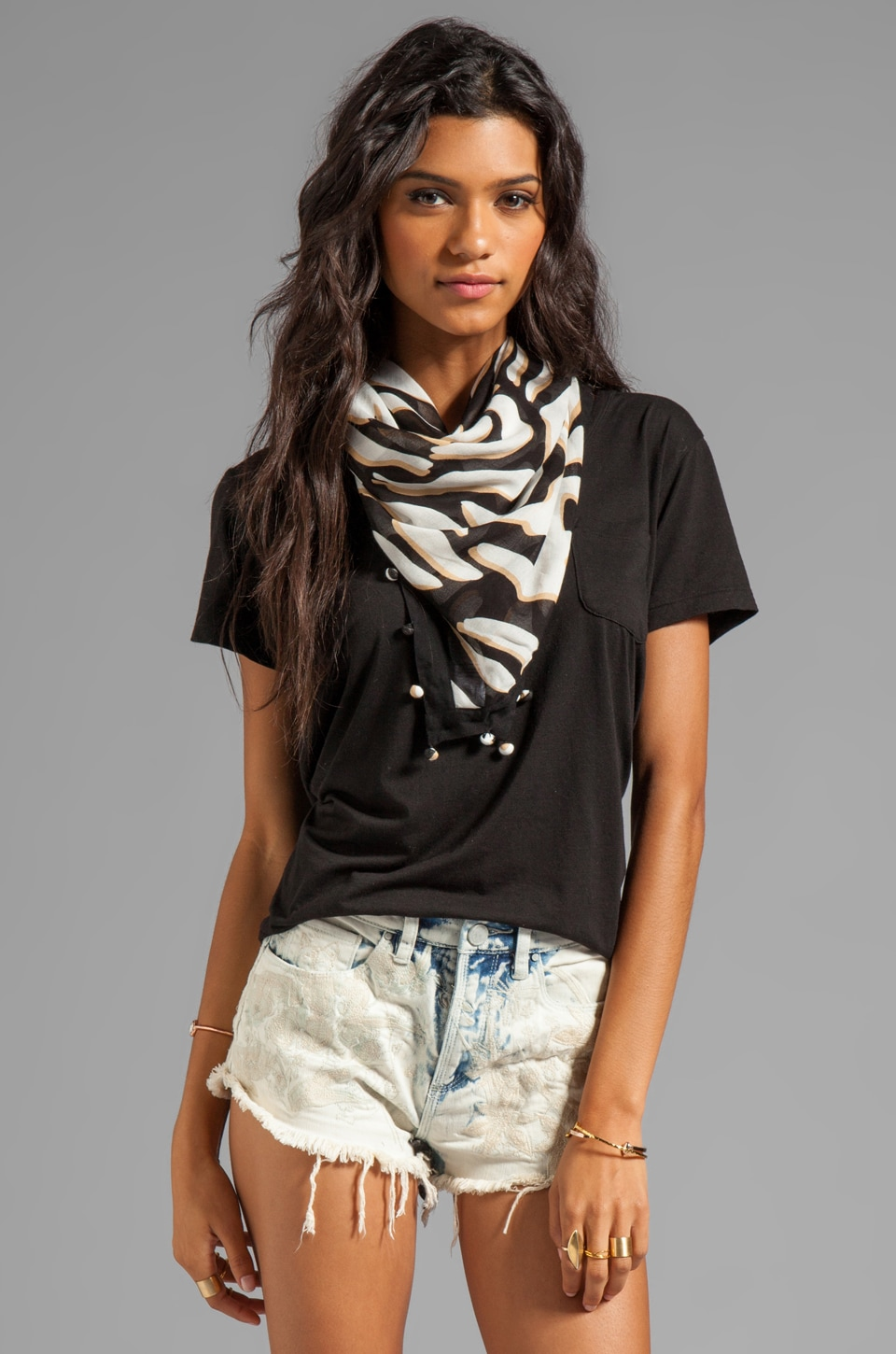 Diane von Furstenberg New Bubsy Day Scarf in Zebra Shadow Black