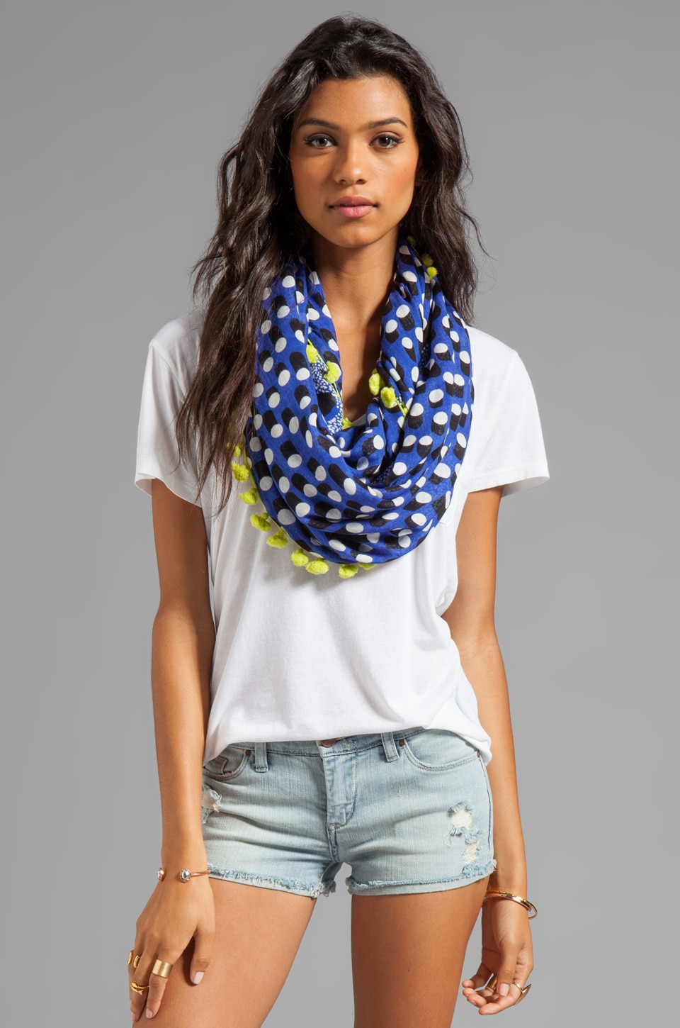 Diane von Furstenberg Circle Scarf in Dot Rush/ Cheetah Island Blue