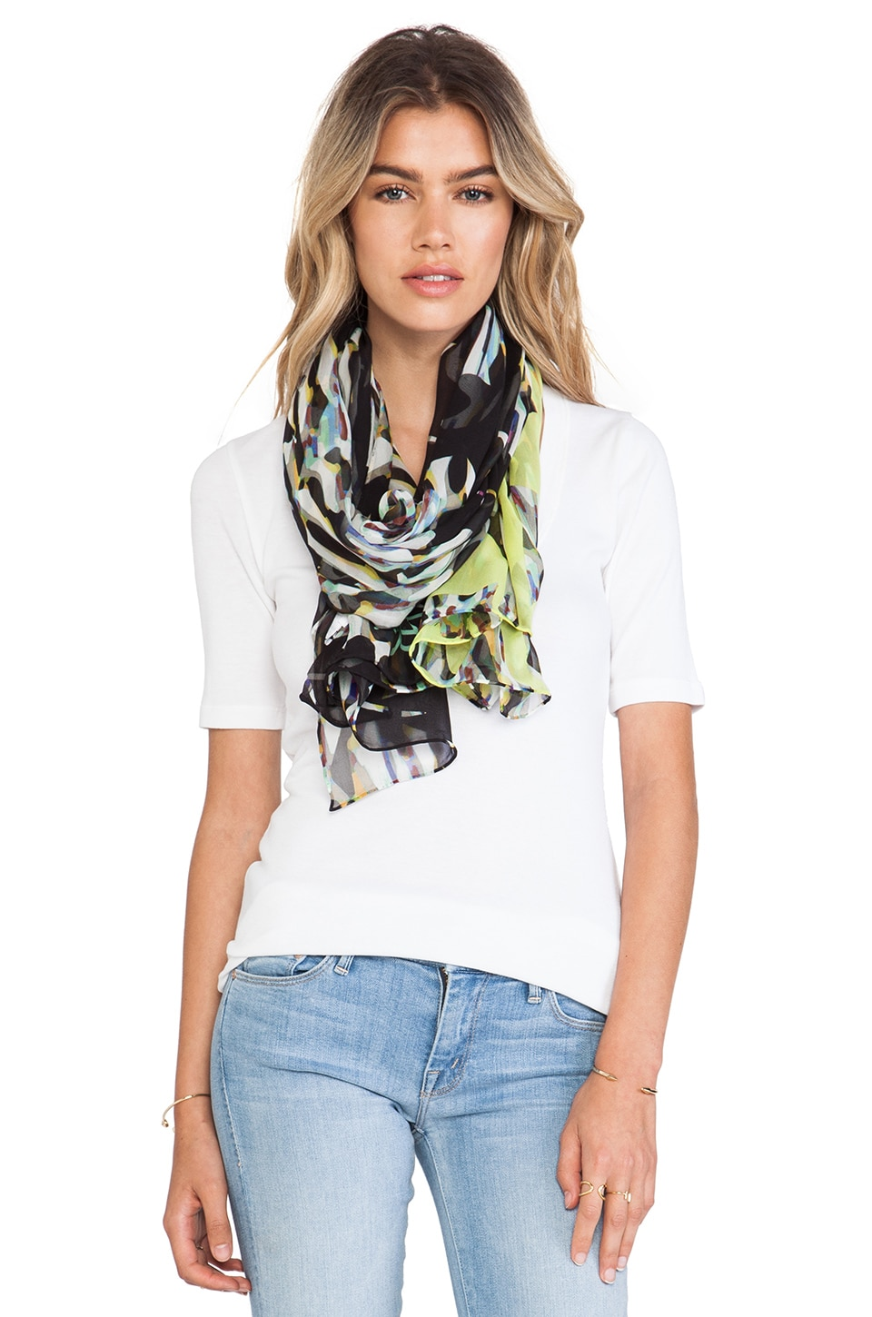 Diane von Furstenberg Washed Chiffon Scarf in Stained Glass Floral