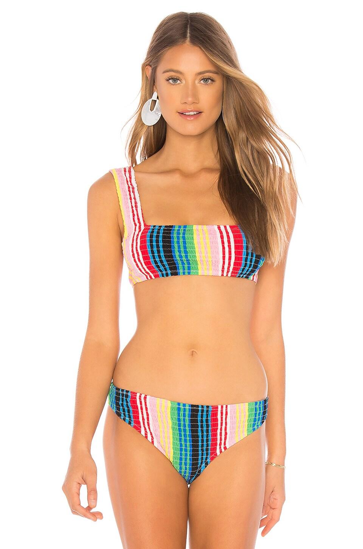 Diane von Furstenberg Smocked Square Bikini Top in Barnett Stripe Ivory Multi