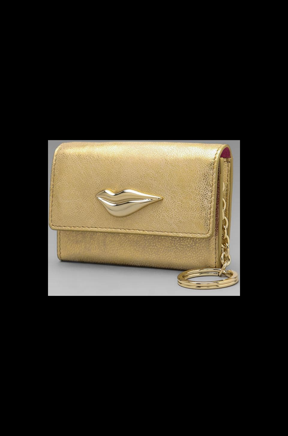 Diane von Furstenberg Lips Card Case in Gold