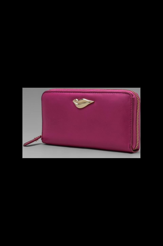 Diane von Furstenberg Lips Zip Around Wallet in Pink Fuchsia