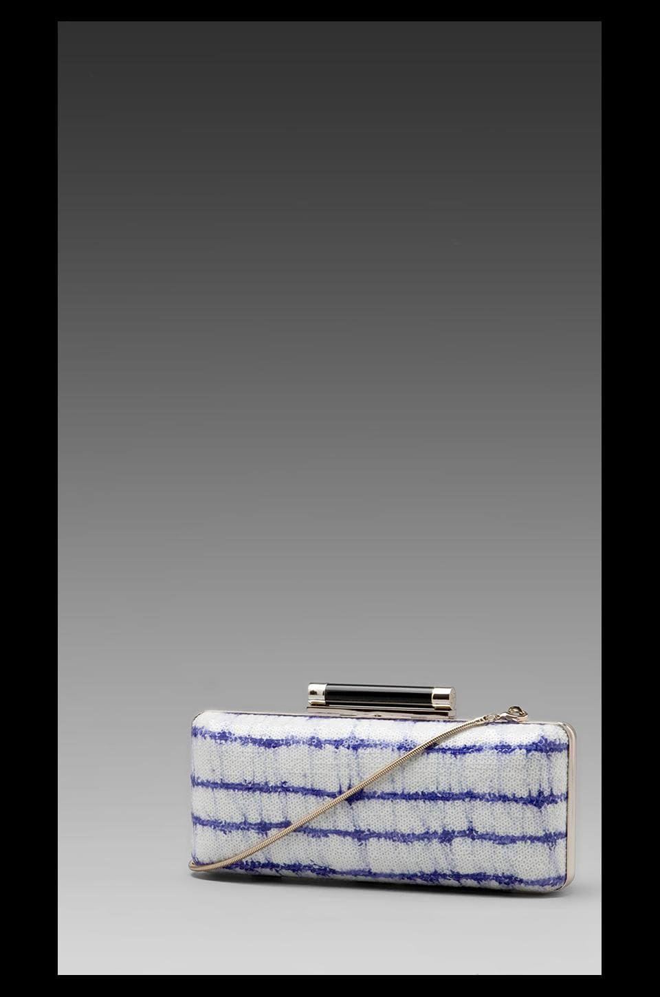 Diane von Furstenberg Tonda Printed Stripe Sequin Clutch in Blue/White