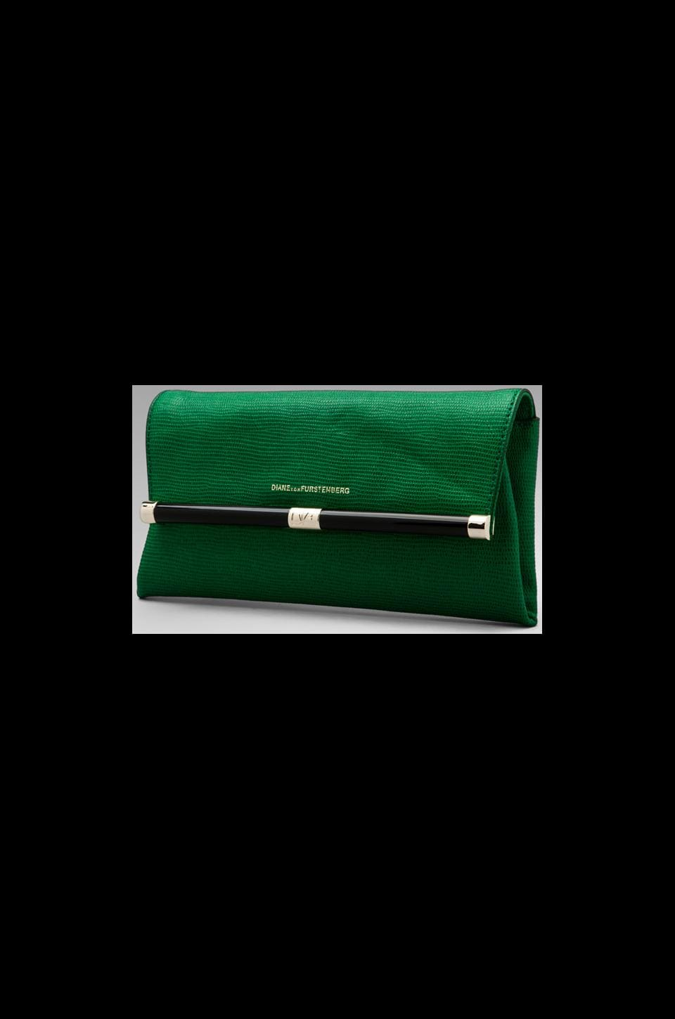 Diane von Furstenberg Embossed Lizard Envelope Clutch in Fern Green