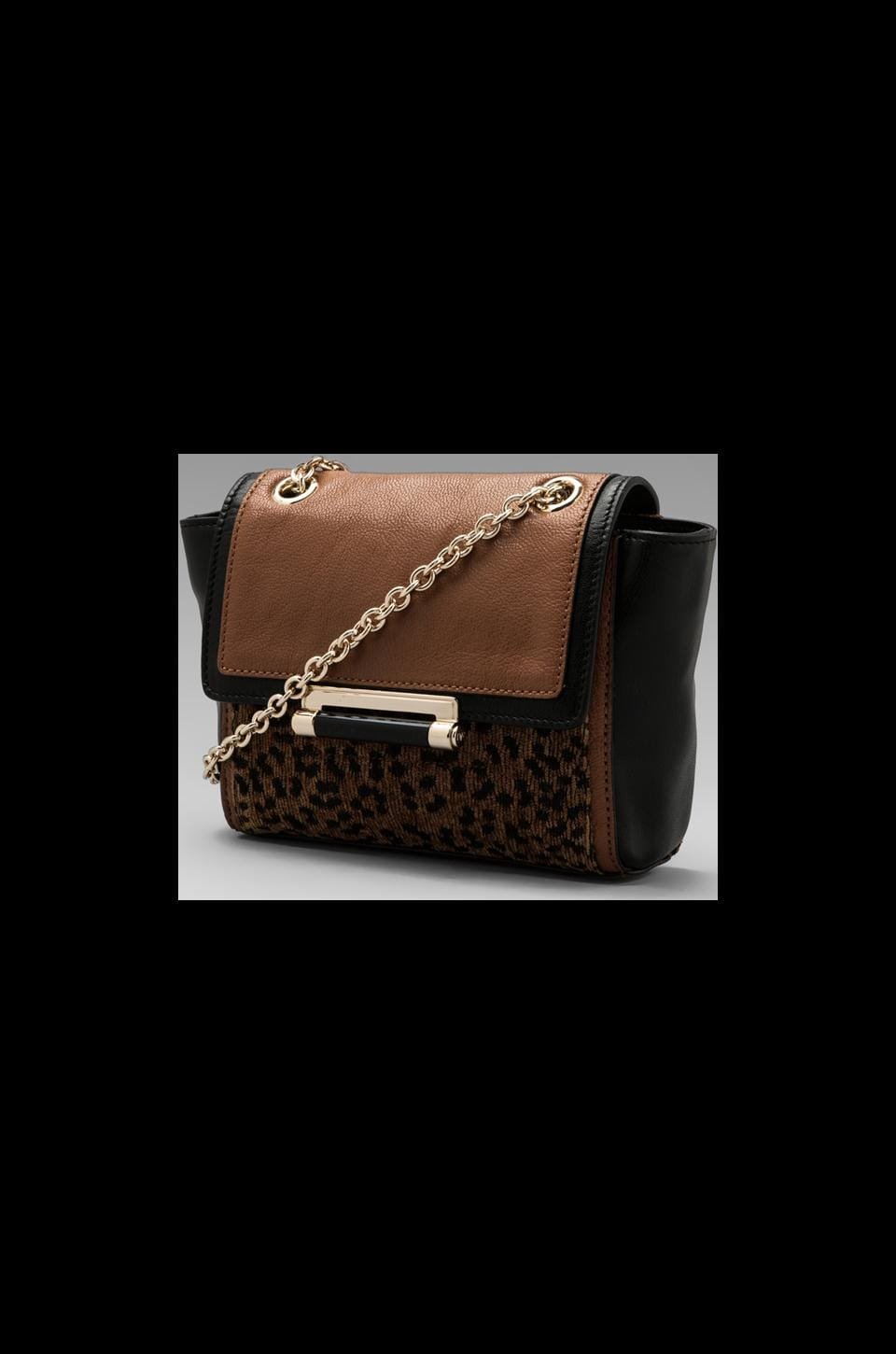 Diane von Furstenberg Mini Leopard Jacquard Bag in Brown/Black