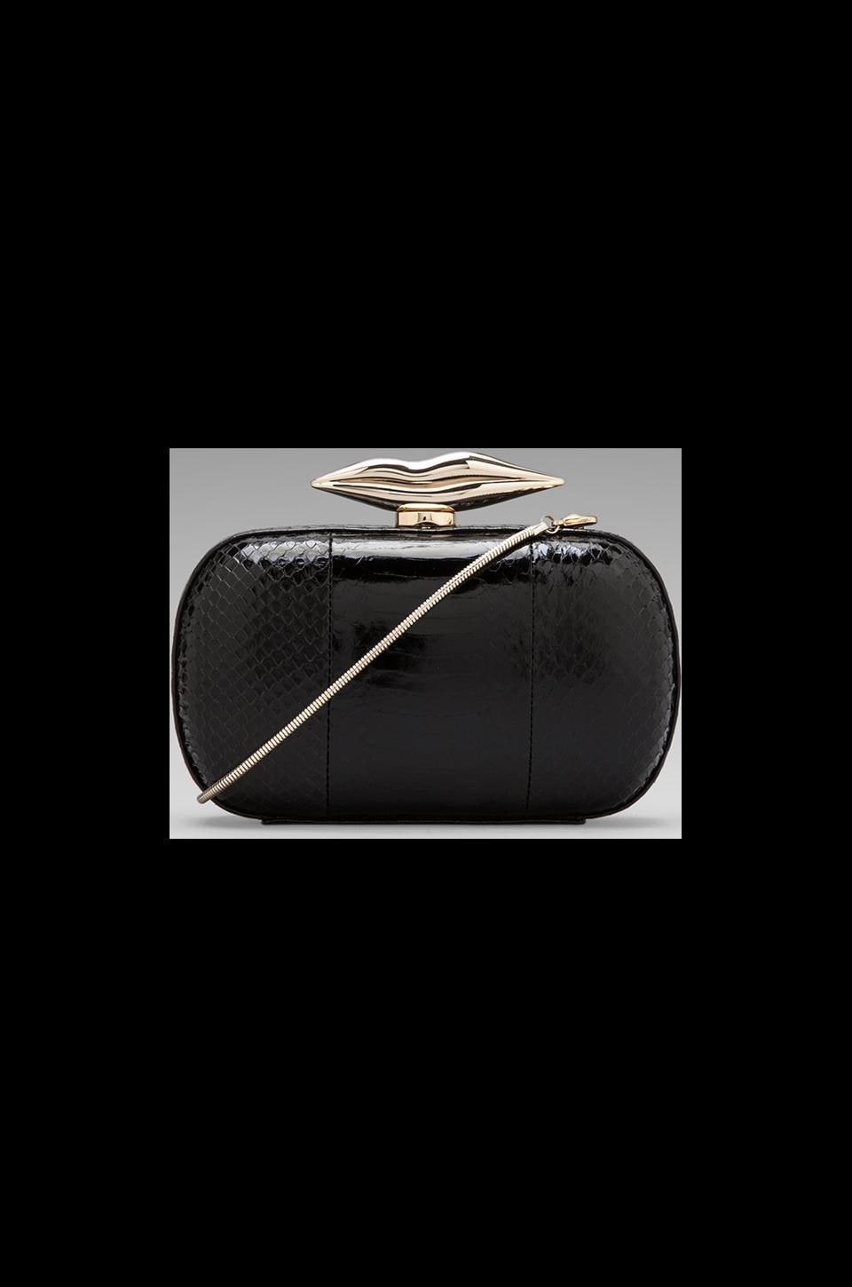 Diane von Furstenberg Flirty Minaudiere Watersnake Clutch in Black