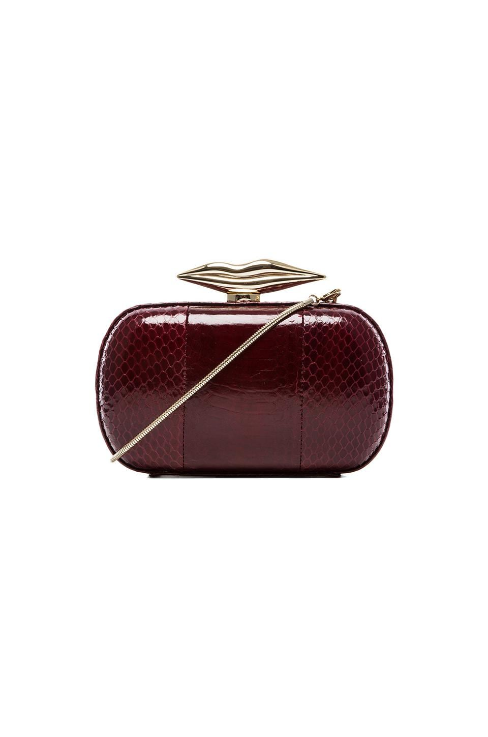 Diane von Furstenberg Flirty Minaudiere Watersnake Clutch in Deep Cherry