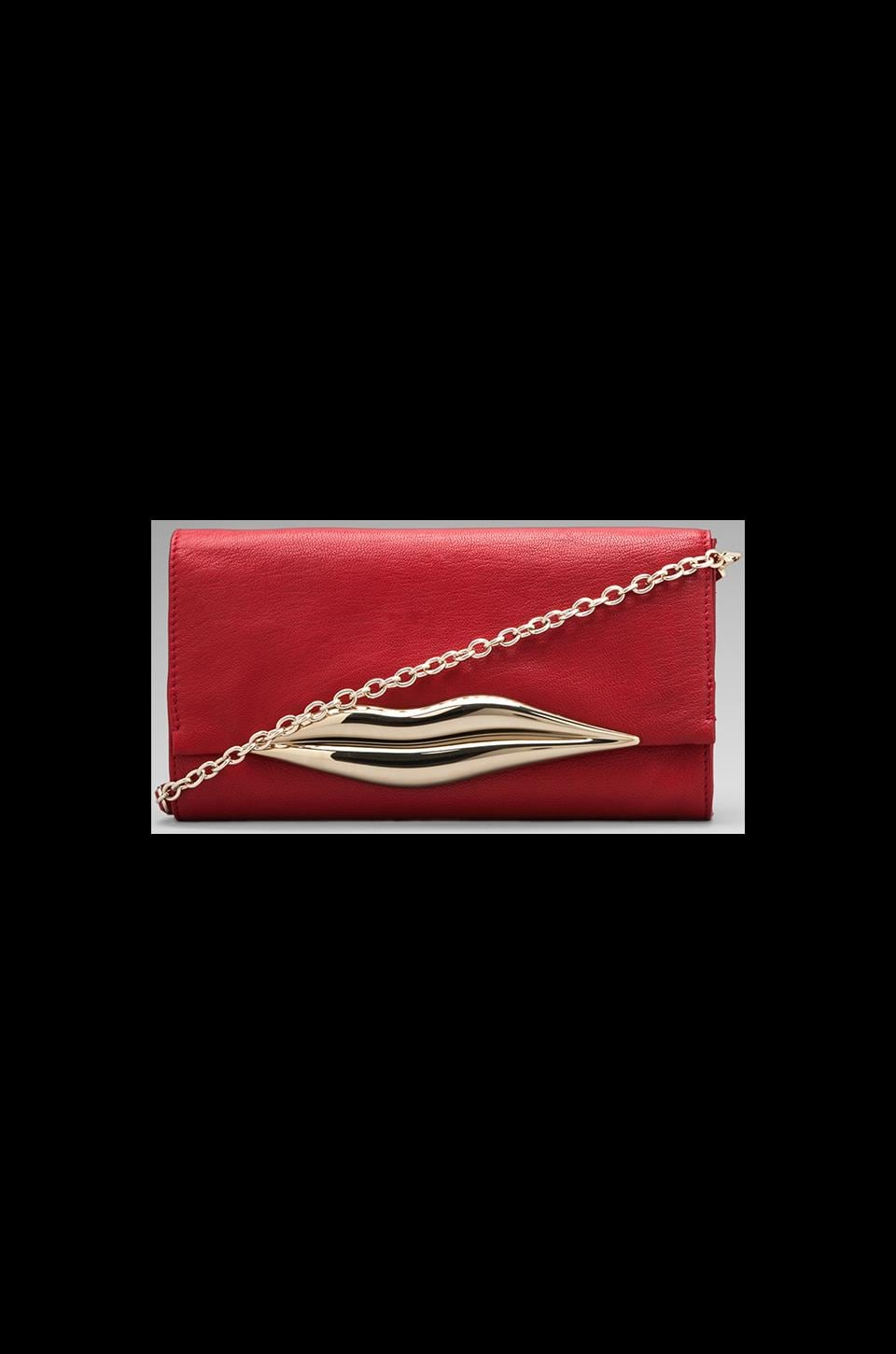 Diane von Furstenberg Flirty Leather Soft Clutch in Crimson