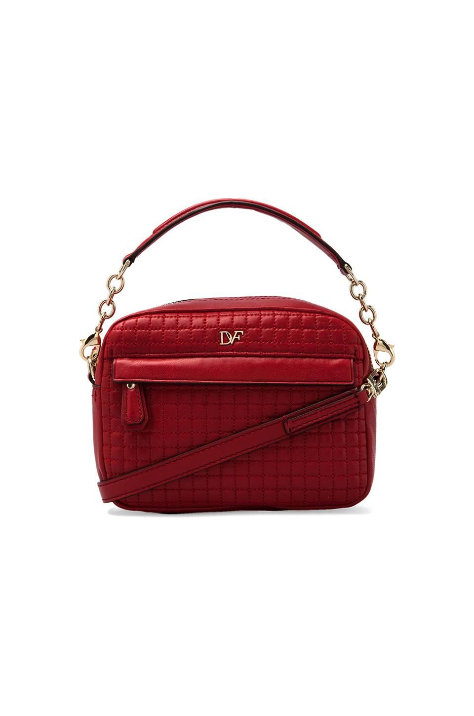 Diane von Furstenberg Milo Mini Quilted Leather Bag in Classic Red