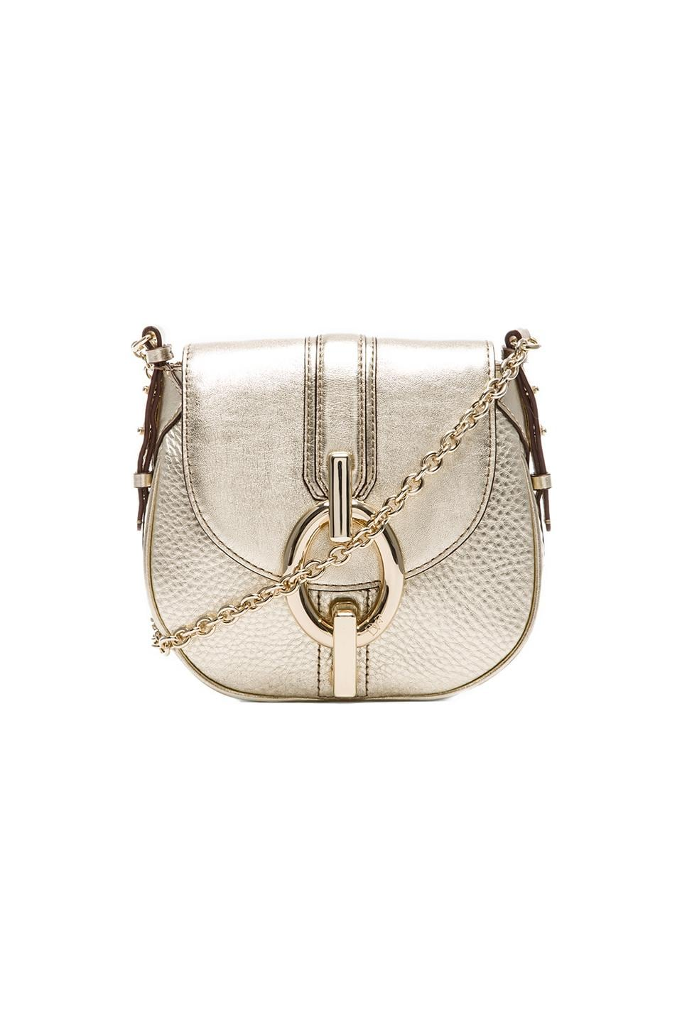 Diane von Furstenberg Sutra Mini Metallic Crossbody in Light Gold