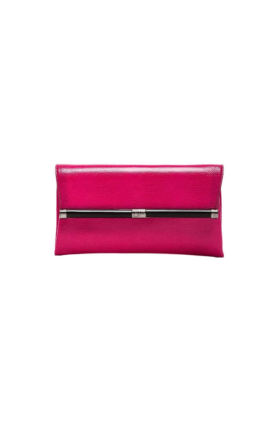 Diane von Furstenberg Envelope Embossed Leather Clutch in Raspberry