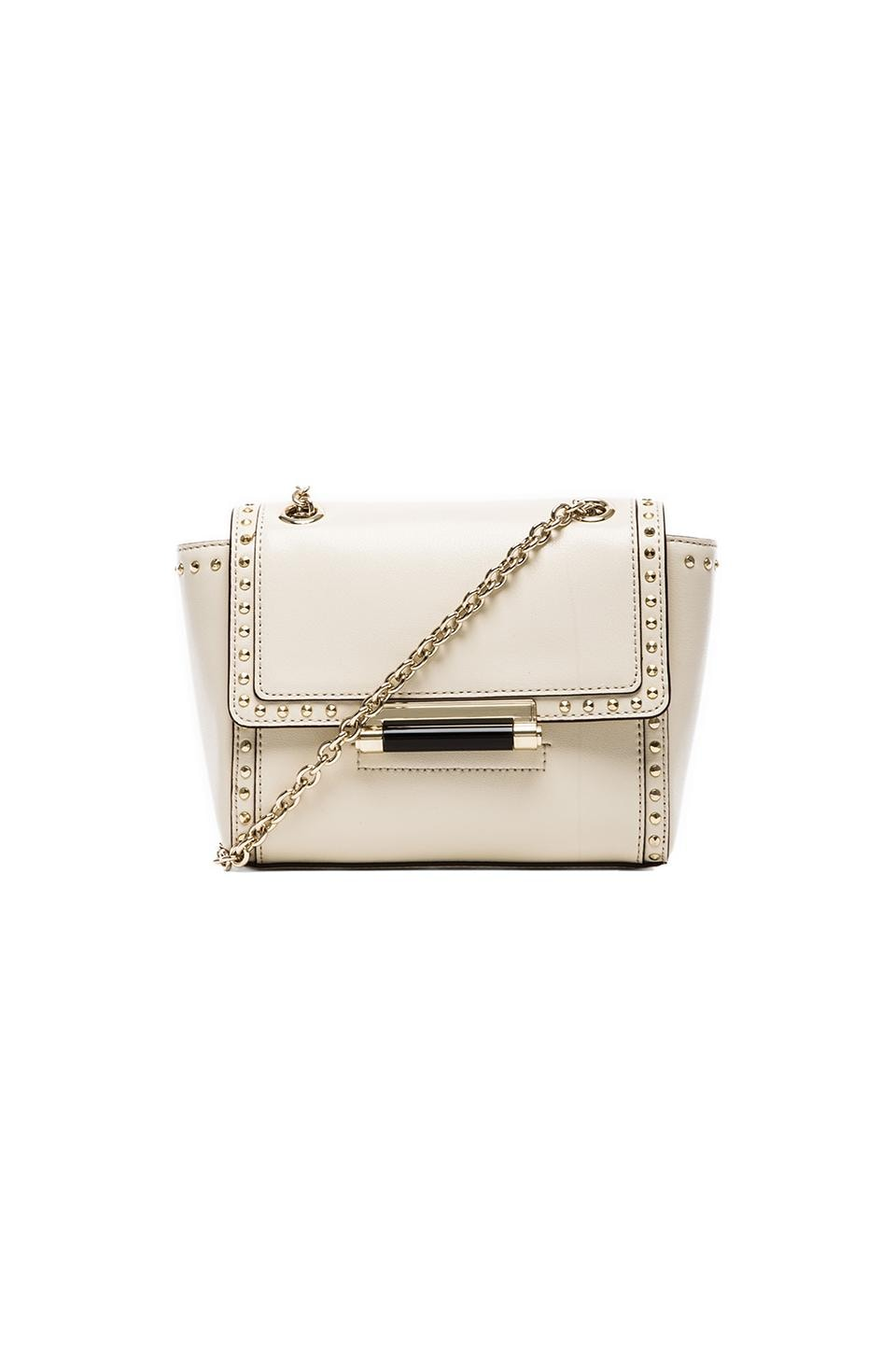 Diane von Furstenberg Mini Faceted Stud Leather Bag in Parchment