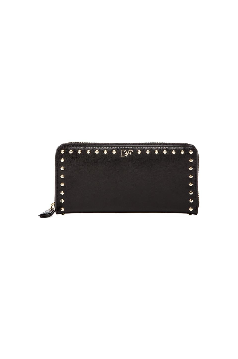 Diane von Furstenberg Studded Leather Zip Around Wallet in Black
