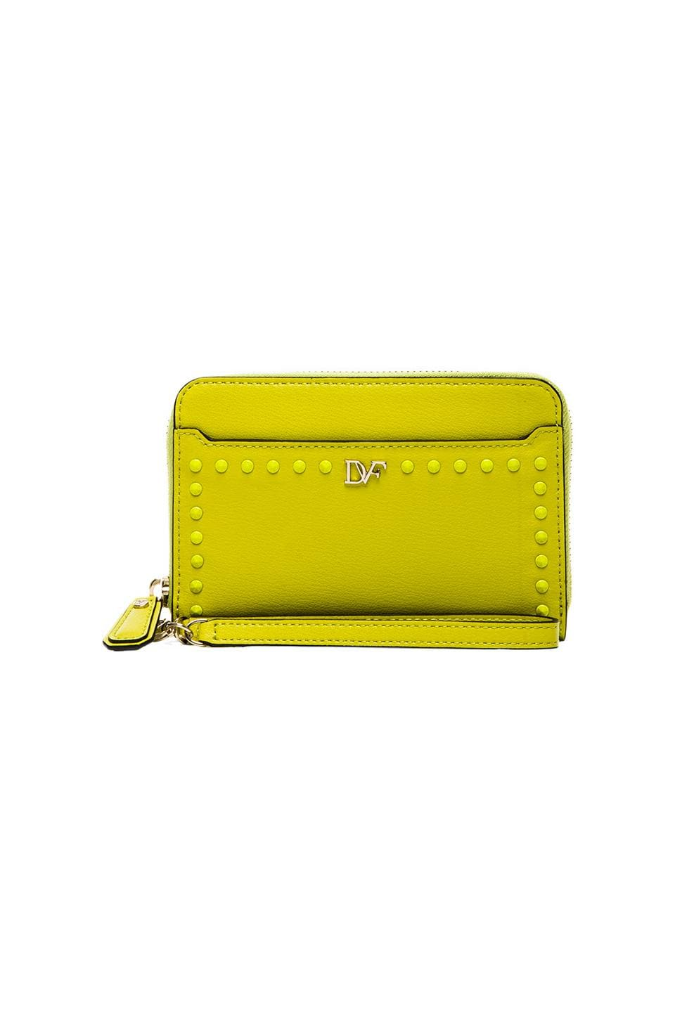 Diane von Furstenberg Studded Leather Wallet in Electric Lime