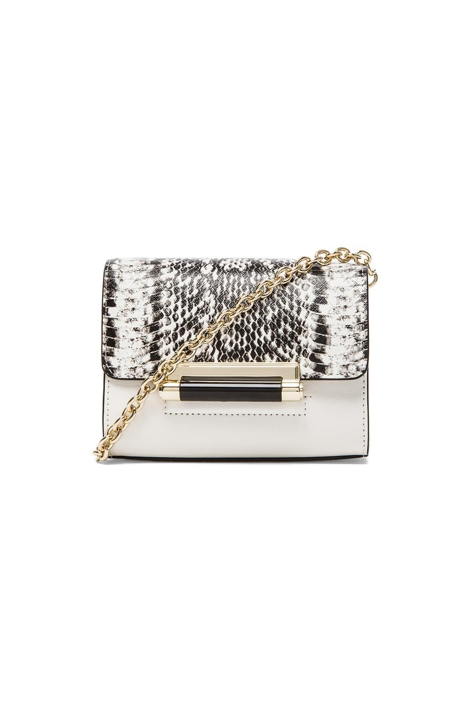 Diane von Furstenberg Highline Micro Mini Crossbody in White & Black Snake