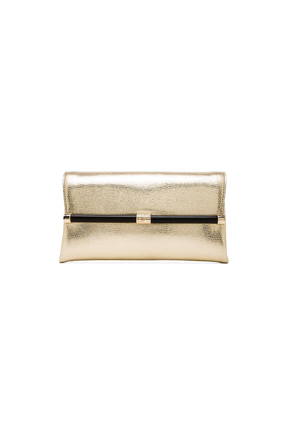 Diane von Furstenberg Envelope Clutch in Gold