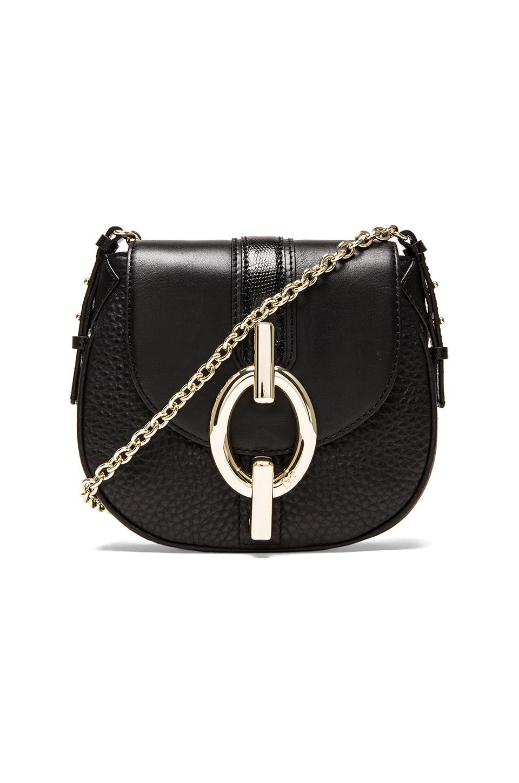 Diane von Furstenberg Sutra Mini Mixed Leather Crossbody in Black