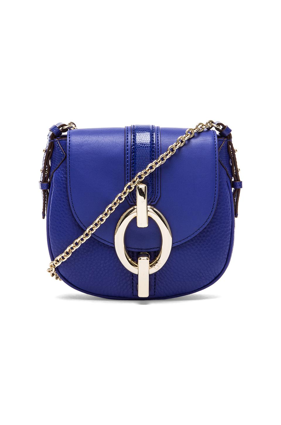 Diane von Furstenberg Sutra Mini Mixed Leather Crossbody in Iris